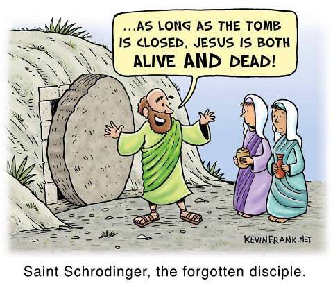 as long as the tomb is closed, Jesus is both alive and dead